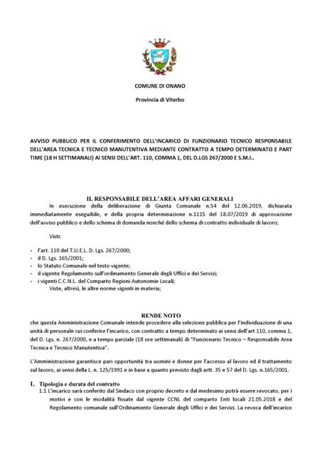 57e1c863779b 22-07-2019 Avviso pubblico per il conferimento dell'incarico di funzionario tecnico  responsabile dell'area tecnica e tecnico manutentiva mediante contratto ...